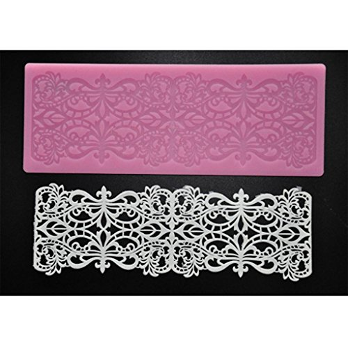 FOUR-C Cake Lace Mat Sugar Art Silicone Mold Baking Supplies Color Pink