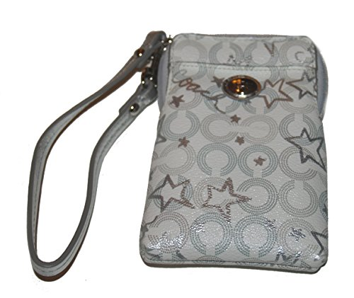 Coach Canvas Leather Peyton Snow Queen Universal Phone Card Wristlet Holder Case