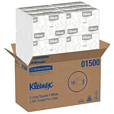 Kimberly-Clark Professional Kleenex C Fold Paper Towels (01500), Absorbent, White, 16 Packs/Case, 150 C-Fold Towels/Pack, 2, 400 Towels/Case: Paper Towels: Industrial & Scientific