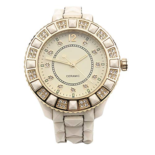 Women's Genuine Ceramic Analog Dress Bracelet Watch with Crystal Bezel by ()