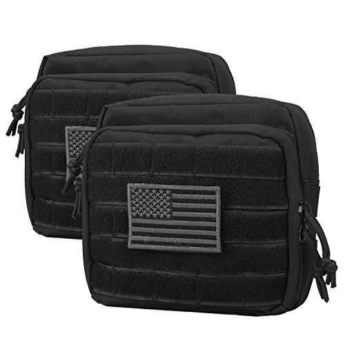 AMYIPO MOLLE Tactical Pouch Multi-Purpose Military Bag Tool Bag Map Pouch Organizer EMT Utility Pouch (Black (2PCS))
