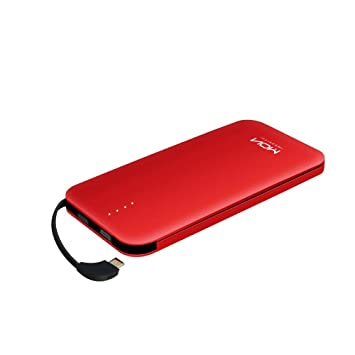 MOXNICE Batería Externa Power Bank 10000mAh Cargador Portátil con Cable Micro USB Incorporado Cargador Móvil para iPhone Samsung Huawei iPad Tablet ...