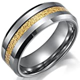 Impressive Tungsten Ring Mens Wedding Band 8mm (Gold Silver) (9)