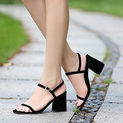 Femelle High Avec Dew Heeled Roman Partie Femmes Avec Lourdes EU35 La De Sandales SHOESHAOGE Tête Chaussures Fendue wgqx8Y1PS