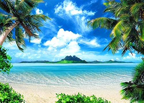 GYA 7x5ft Summer Beach Ocean Backdrop Photo Tropical Beach Seaside Island Palm Trees Blue Sea Sky Sunshine Photography Background Wedding Party Decorations Photo Booth Studio Props