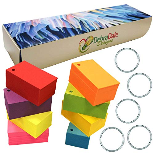 Debra Dale Designs - 800 Small Blank Study Flash Cards - Single Hole Punched - 5 Rings - 3-1/2 x 2 - 8 Astrobrights Cardstock Colors - 100 Each Color - Premium Heavy 100# Cover Card Stock