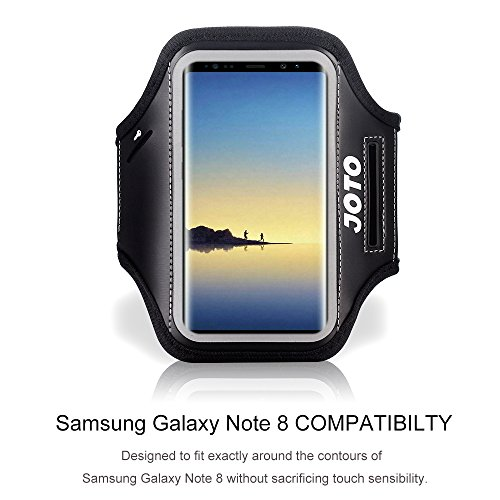 Samsung Galaxy Note 8 Armband Case, JOTO Sports Exercise Runner Armband Case, with Key Holder, Credit Card / Money Holder, Sweat Proof, Best for Gym, Running , Exercise , Workout (Black)
