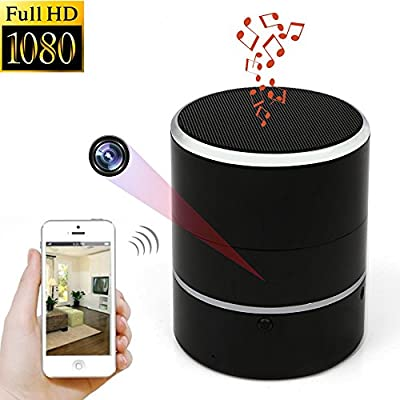 Hidden Camera 1080P WIFI HD Spy Cam Bluetooth Speakers Wireless Mini Camera Rotate 180° Video Recorder Motion Detection Real-Time View Nanny Cam by WNAT