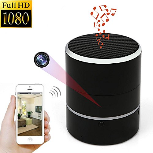 Hidden Cams - WNAT Hidden Camera 1080P WiFi HD Spy Cam Bluetooth Speakers Wireless Mini Camera Rotate 180° Video Recorder Motion Detection Real-Time View Nanny Cam