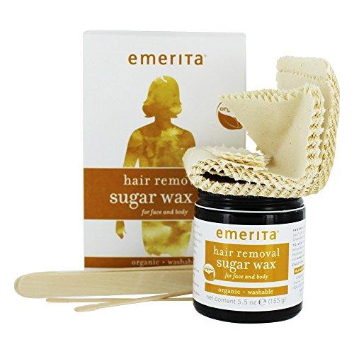Emerita Hair Removal Sugar Wax Kit for Face and Body Organic 5 5 oz 155 g ()