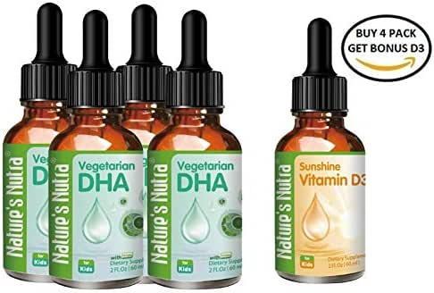 Nature's Nutra Vegetarian Baby DHA, 2 Fl. Oz (60ml) 4-Pack with BONUS Vitamin D3, Premium Baby and Infant Liquid Drops, Toddlers Kids Children Multivitamin Supplement, Life's DHA™ 100mg, Pure Plant So