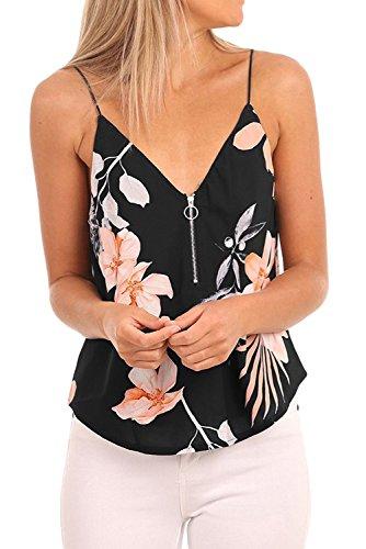 ps Summer V Neck Spaghetti Strap Floral Printed Tank Top Black L ()