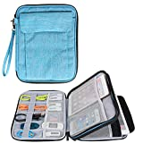 Damero Double Layer Electronics Organizer, Travel Accessories Carry Bag with 9.7''iPad Sleeve for Passport, Business Cards, Document, Pens, Smart Design and Premium Quality, Light Blue