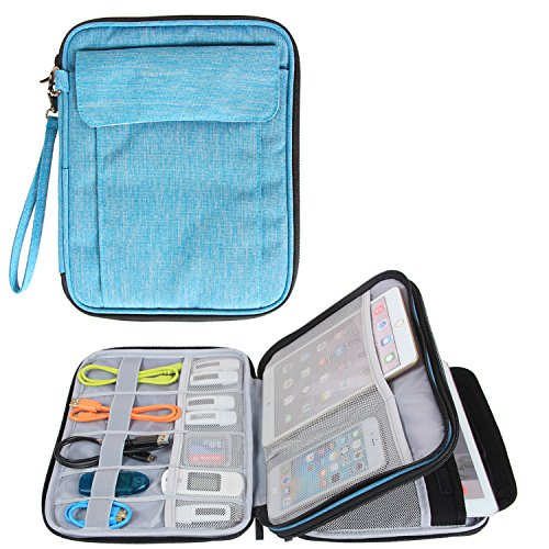 Damero Electronics Organizer with 9.7'' iPad Sleeve Case/ Travel Accessories Bag for (Gusseted Business Card Case)