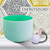 ENERGYSOUND 432 Hz Pas parfait F Coeur Chakra Vert Coloré Quartz Givré Bol Chantant 20 cm --- Yoga Thérapie Guérison Sonore
