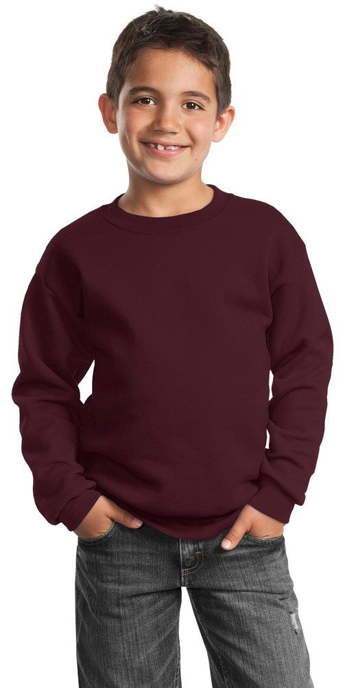 Port & Company Youth Crewneck Sweatshirt, Maroon, X-Small