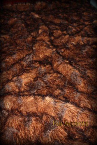 Fur Accents Faux Fur Throw Blanket / Rich Brown Tones 60'' X 70'' by Fur Accents