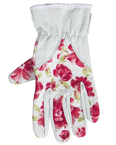 Laura Ashley Womens Light Duty Leather Gardening Gloves With Red Floral Print