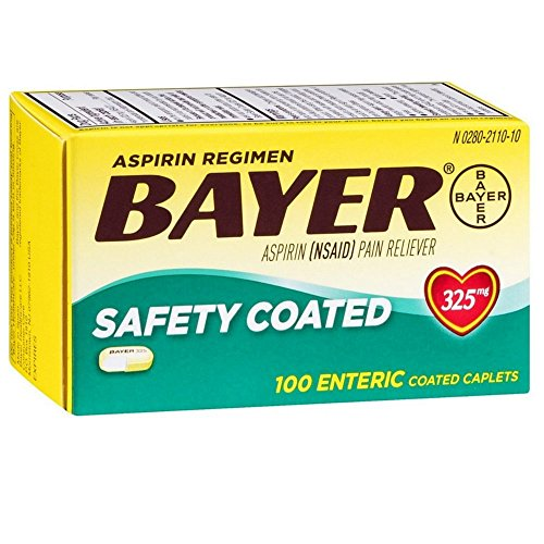 Bayer Aspirin Regimen Pain Reliever Safety Coated Enteric Coated Caplets, 100 ct (Pack of 6) (Regimen Caplets)