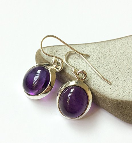 Amethyst sterling silver earrings, large Oval Amethyst dangle earrings, Purple gem earrings, Amethyst jewelry, From Israel, gift for her Large Oval Amethyst Ring