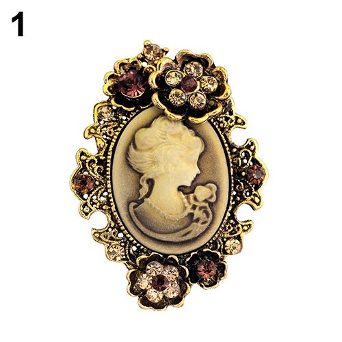 (loinhgeo-Women's Vintage Inlaid Rhinestone Flower Beauty Relief Cameo Antique Brooch Pin - Gold )