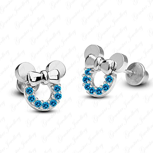 Gemstar Jewellery Round Cut Blue Topaz 14k Yellow Gold Plated Mickey Mouse Disney Stud Earrings