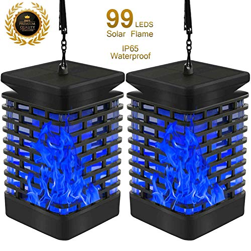 Eoyizw Solar Flame Lights Hanging Lantern Flickering Dancing Fairy Decorative Real Warm IP65 Waterproof 99 LED Outdoor Tabletop Lanterns Solar Powered Camping Lights Hook Tree Walkway Landscape 2 PCS