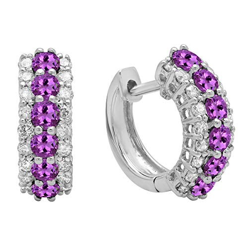 Dazzlingrock Collection 14K Round Gemstone White Diamond Ladies Huggies Hoop Earrings, White Gold