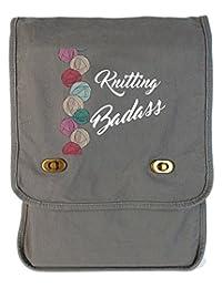 Tenacitee Knitting Badass Smoke Grey Canvas Field Bag