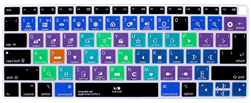 HRH Shortcut Hotkey Silicone Keyboard Cover Skin for MacBook Newest Air 13 Inch 2018 Release A1932 with Retina Display and Touch ID EU/US,Final Cut Pro X