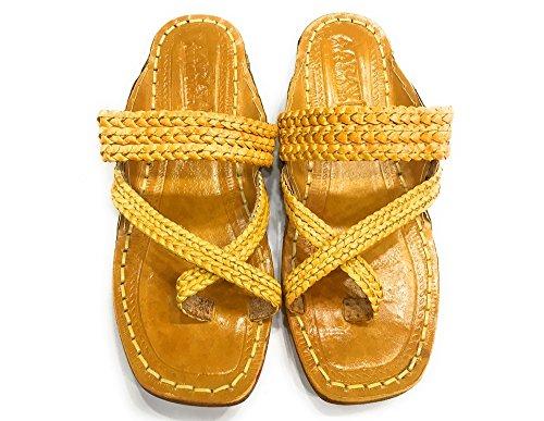 Steg N Style Mens Kolhapuri Rent Läder Chappal Indiska Traditionella Skor Khusa Juti