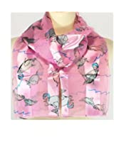 """Scarf ~ """"Dolphin"""" ~ Pink Background ~ 13"""" x 60"""""""