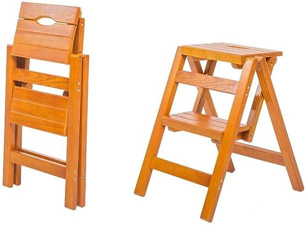 Plegable Cocina Taburete de escaleras con 2 Pasos De Madera Escalera de Mano (Color: Nogal Claro, Tamaño: 38x47x51cm / 15x18.5x20.1inch): Amazon.es: Hogar