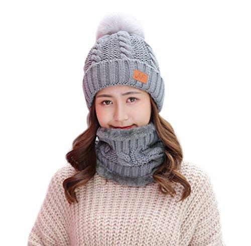 Fur Lined Fleece (IRELIA Womens/Mens Faux Fur Knitted Pom Fleece Lined Caps Beanie Scarf Set 002 Grey Set)