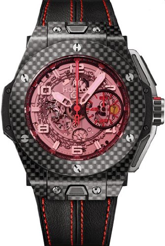 Hublot Ferrari Carbon Red Magic Automatic Openwork Dial Black Carbon Fiber Mens Watch 401.QX.0123.VR