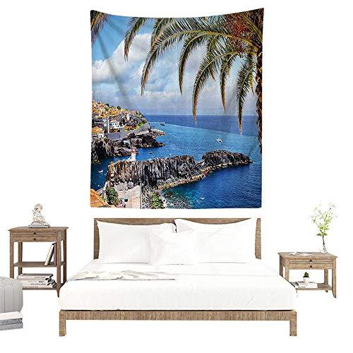 Wall Tapestries Hippie,Scenery Decor,Aerial View of Italian Island Mediterranean Fisherman Village Rock Cliffs on Shore,Multi W39 x L39 inch Tapestry Wallpaper Home Decor