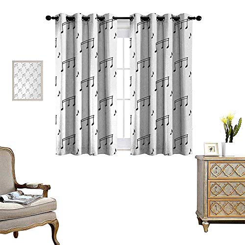 Anyangeight Music Window Curtain Fabric Musical Notes Theme Melody Sonata Singing Song Clef Tunes Hand Drawn Style Pattern Drapes for Living Room W55 x L39 Charcoal Grey