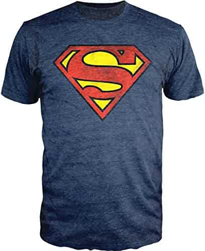 Superman Logo Shield Heathered Navy Slim-Fit T-Shirt