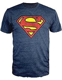 Superman Logo Shield Heathered Navy Slim-Fit T-Shirt