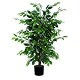Vickerman 4' Artificial Ficus Bush set in Black Pot