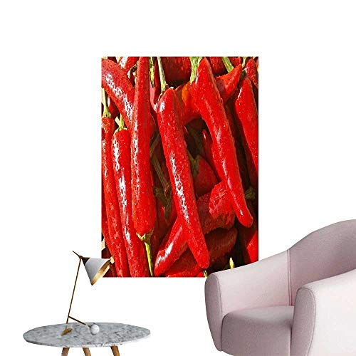 SeptSonne Wall Decoration Wall Stickers Fresh red Chili in The Market Print Artwork,16