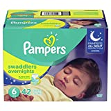 Pampers Diapers Size 6, Overnights Disposable Baby Diapers, 42 Count, Super Pack