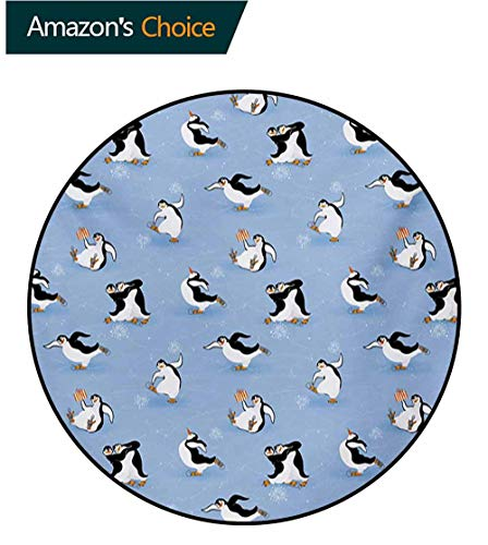 (RUGSMAT Cartoon Animal Round Area Rug,Skating Funny Penguins Fun Activity Cheerful Smiling Mascots Cute Couple Indoor/Outdoor Round Area Rug,Diameter-31 Inch Multicolor)