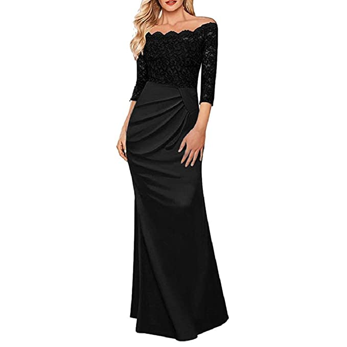 GONKOMA Womens Off Shoulder Formal Long Maxi Dress Evening Party Ball Prom Gown Long Dress (
