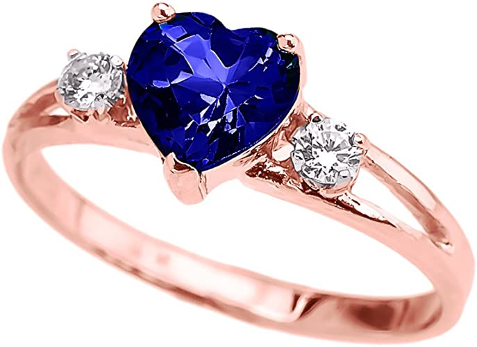 "14k Rose Gold Heart CZ Birthstone /""MOM/"" Ring"