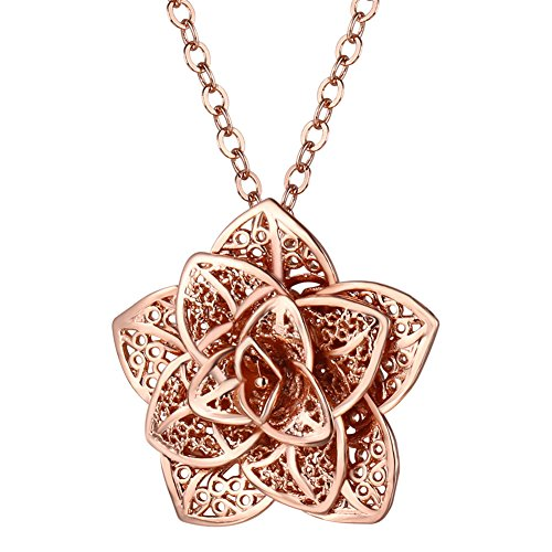 Gold Flower Link (Women Flower Pendant with Link Chain Rose Gold Plated Necklace)