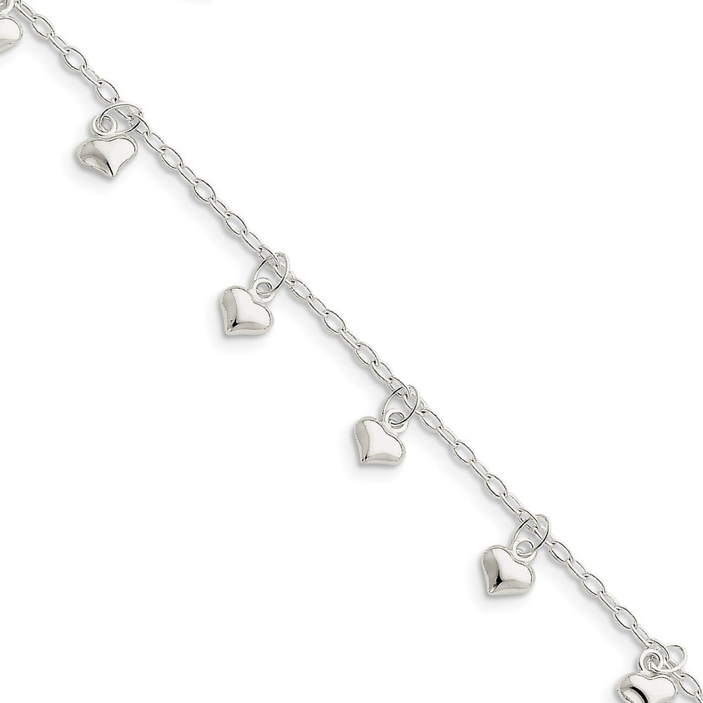 Sterling Silver Polished Puffed Heart Anklet