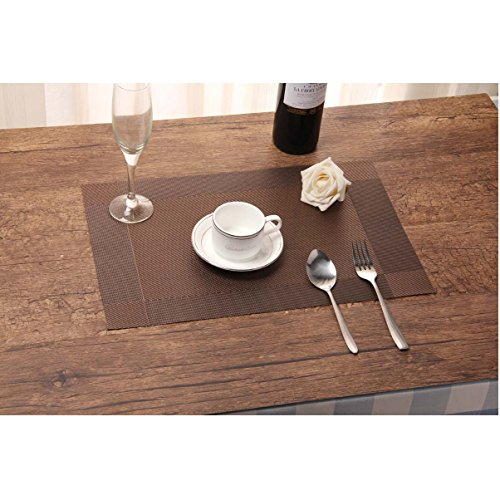 Kitchen Dining Room PVC Placemats Insulation Heat Stain Resistant Anti-Skid Eat Mats (Brown)