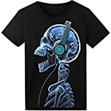 LED T Shirt Sound Activated Glow Shirts Light up Equalizer Clothes Party Skull