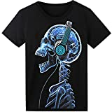 LED T Shirt Sound Activated Funny Shirts Light Up Equalizer Animation Clothes Fancy Dress for Party Hiphop Halloween Concert Cosplay Birthday Gift with Headphone Skull Design, Bonus Glow Bracelet